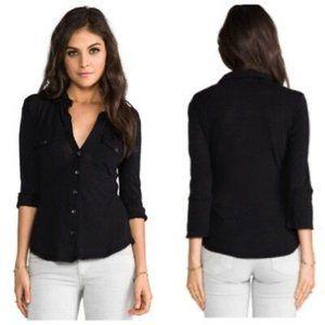 JAMES PERSE Contrast Panel Shirt Black {VV35}